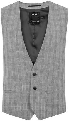 Topman Mens Mid Grey Gray And Black Check Muscle Fit Suit Vest