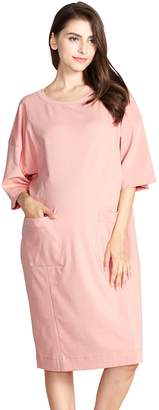 33d42de49f7 Sweet Mommy Maternity and Nursing Oversized Jumper Shirt Dress NVF
