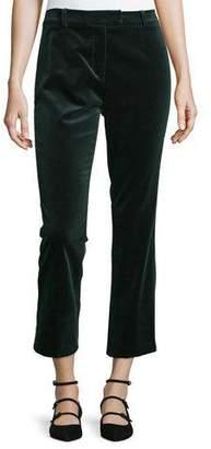 FRAME Velvet Cropped Pants, Spruce Green $375 thestylecure.com