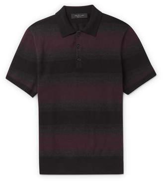 Rag & Bone Striped Cotton And Cashmere-Blend Polo Shirt