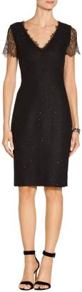 St. John Metallic Ebony Tweed Knit V-Neck Dress