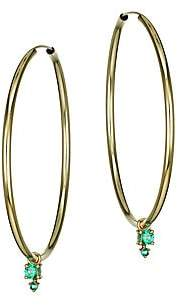 Ila Women's Dawson 14K Yellow Gold Emerald Hoop Earrings