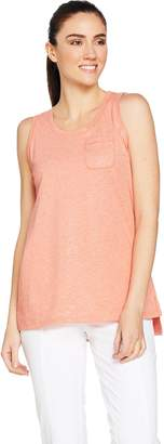Isaac Mizrahi Live! SOHO Scoop Neck Pocket Tank with Side Slits