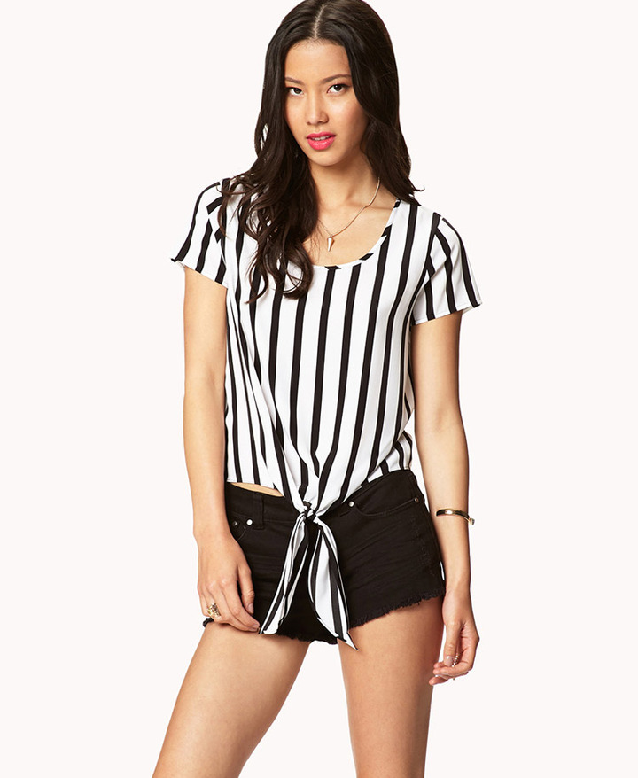 LOVE21 LOVE 21 Essential Front-Tie Striped Tee