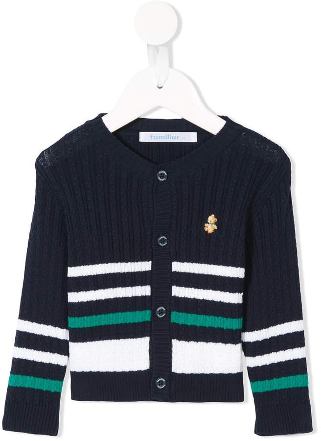 striped colour-block cardigan