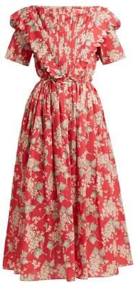 Horror Vacui Flabella Scalloped Trim Cotton Dress - Womens - Red Multi