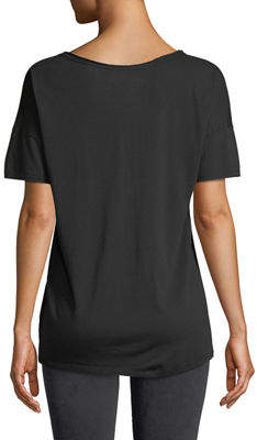 NYDJ Short-Sleeve Raw-Edge V-Neck Tee