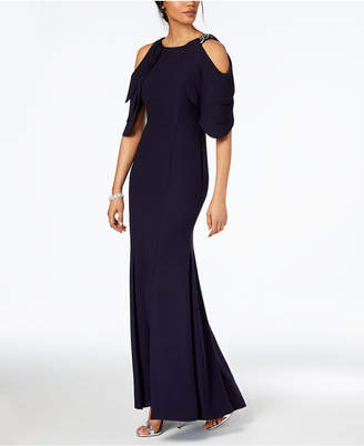 Betsy & Adam Petite Embellished Cold-Shoulder Gown