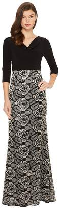 Adrianna Papell Draped Jersey Cowl Neck with Metallic Rose Embroidered Skirt Detail Women's Dress