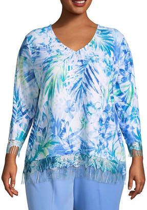 Alfred Dunner Bonita Springs Fringe Sweater-Plus