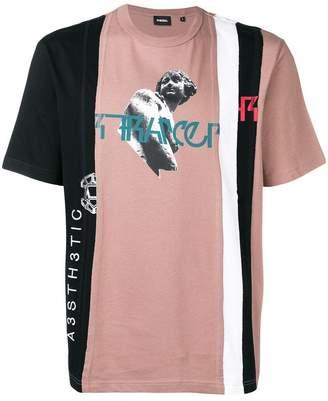 Diesel deconstructed colour block T-shirt