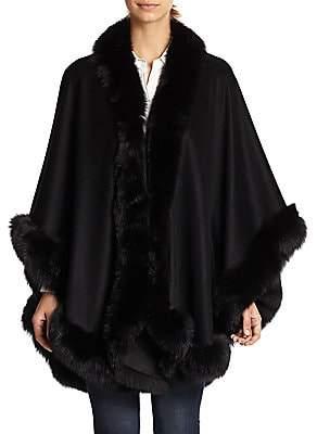 Sofia Cashmere Women's Dyed Fox Fur-Trimmed Cashmere Wrap