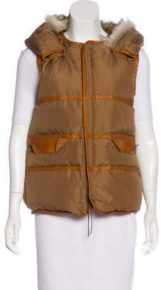 Undercover Fur-Accented Hooded Vest