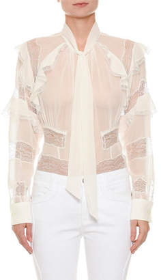 Ermanno Scervino Long-Sleeve Button-Front Sheer Blouse with Lace Inset