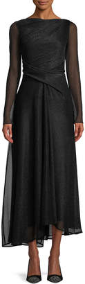 Talbot Runhof High-Neck Long-Sleeve Metallic Voile Midi Evening Gown