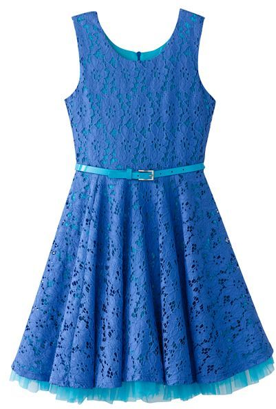 Knitworks belted lace dress - girls 7-16