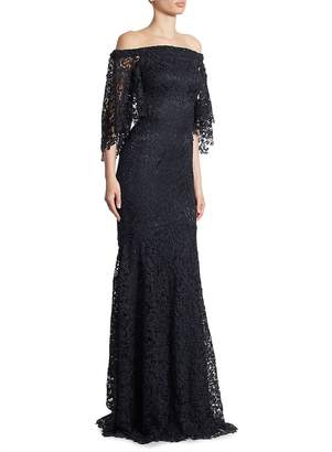 Theia Women's Off-The-Shoulder Lace Trumpet Gown