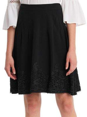 Karl Lagerfeld Paris Pleated Lace Knee-Length Skirt