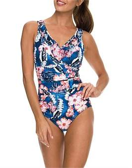 Jantzen Coco Dd/E Front Ruched Mesh Frill One Piece