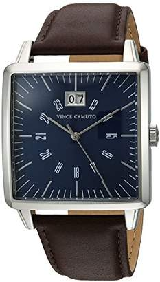 Vince Camuto Men's VC/1095NVSV Date Calendar Dial Silver-Tone and Brown Leather Strap Watch