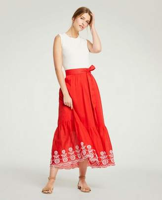 Ann Taylor Petite Floral Embroidered Tie Waist Maxi Skirt