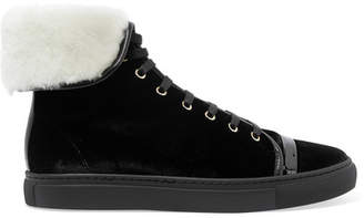 Lanvin Shearling-lined Velvet High-top Sneakers - Black