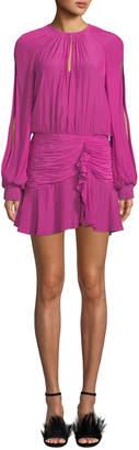 Ramy Brook Becca Shirred Split-Sleeve Flounce Short Dress