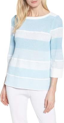 Ming Wang Bow Back Stripe Sweater
