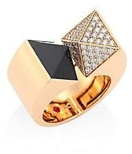 Roberto Coin Sauvage Privé Pyramid Diamond, Black Jade & 18K Rose Gold Ring