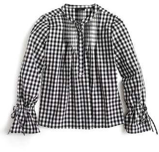 J.Crew J. Crew Tie Sleeve Gingham Top with Pintucks