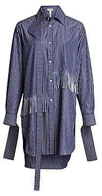 21ce038a7f74f Loewe Women s Oversized Fringe  Strap Striped Shirt