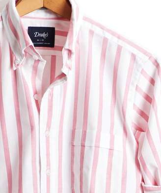 Drakes Drake's Broad Stripe Oxford Button Down Shirt in Pink