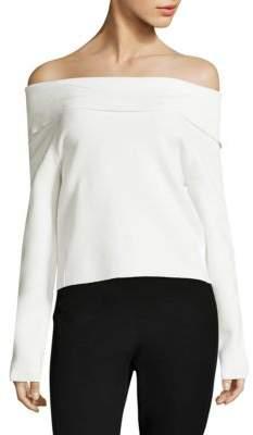 Donna Karan Knit Foldover Off-The-Shoulder Sweater