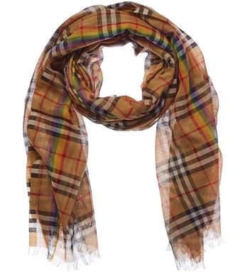 Burberry Gucci Rainbow Stripe Vintage Check Wool & Silk-Blend Scarf