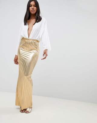 Rare London metallic pleated maxi skirt