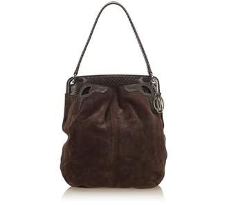 Cartier Vintage Python Suede Shoulder Bag