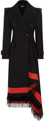 Alexander McQueen Asymmetric Fringed Wool-blend Double-breasted Coat - Black