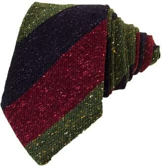 40 Colori - Green Navy & Burgundy Striped Textured Silk Tie