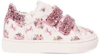 MonnaLisa Floral Print Faux Leather Strap Sneakers