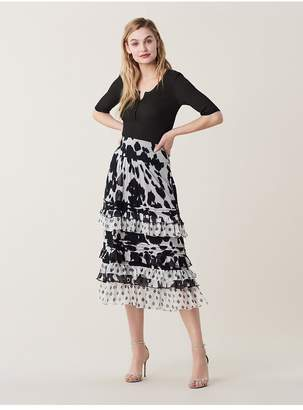 Diane von Furstenberg Poppy Ruffled Cotton-Silk Midi Skirt