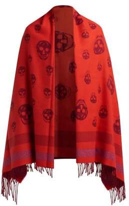 Alexander McQueen Skull Print Wool Blend Blanket Scarf - Womens - Red