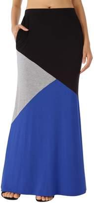 WAJAT Long Skirt Elastic Waist, Women's Color Block High Waist Long Maxi Skirt 2XL