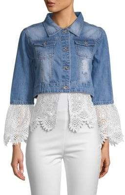 Cropped Lace-Trim Denim Jacket