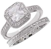 Michela Two-Piece Pave Accented Solitaire Ring and Band Set