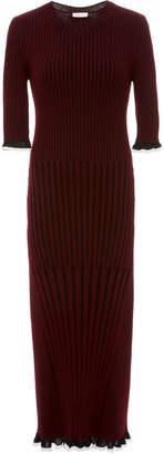 Rosetta Getty Color-Blocked Ruffled Ribbed-Knit Dress
