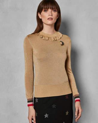 Ted Baker HAWEN Lurex knit frill neck top
