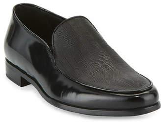 Giorgio Armani Saffiano Leather Venetian Loafer, Black
