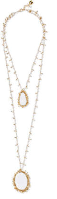 Rosantica Flapper Gold-tone, Pearl And Stone Necklace - White