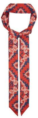 Valentino Printed Silk Scarf - Womens - Red