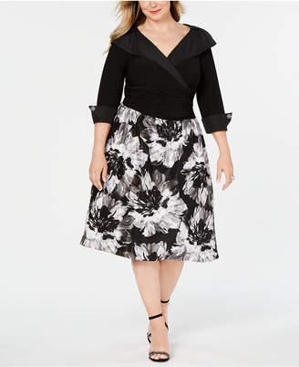 SL Fashions Plus Size Portrait-Collar A-Line Dress
